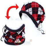 Black Red Checkered Plaid  Convertible  Neck Warmer Beanie