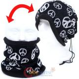 Black White Peace Mark Convertible Neck Warmer Beanie