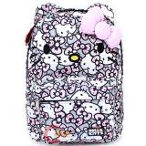 "Sanrio Hello Kitty School Backpack with 3D Bow and Ears 16"" Large - Pink Grey All Over"