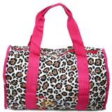 Pink Leopard Canvas Duffle Travel Bag  Animal Prints  Diaper Gym Bag