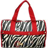 Black Red Zebra Canvas Duffle Travel Bag Animal Prints Diaper Gym Bag