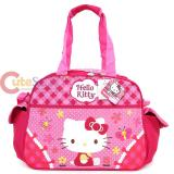 Sanrio Hello Kitty Duffle Bag  Travel , Gym Bag-  Garden Pink