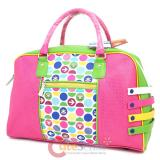 Paul Frank Leather Duffle Diaper Shoulder Bag : Pink Polka Dots
