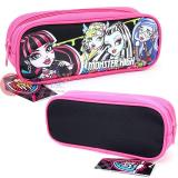 Monster High Canvas Pencil Case Zippered Bag - Black