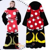 Disney Minnie Mouse Cozy Fleece  Blanket with Sleeves : Adult Size