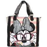 Disney Minnie Mouse with Glasses Striped  Tote Hand Bag by Loungefly