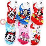 Disney Mickey Minnie Mouse Ankle Socks 6 Pair Kids Size 9-11