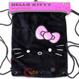 Hello Kitty Plush Draw String Backpack Sling Shoulder Bag - Black Face with Pink Bow