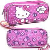 Sanrio Hello Kitty Pencil Case , Cosmetic  Pouch  Bag - Purple Dots