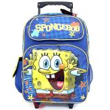 "Nick Jr. SpongeBob Large School Roller Backpack 16"" Rolling Bag -Star"