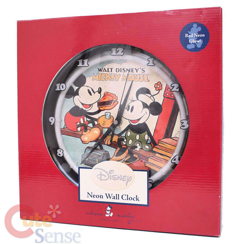 Disney Mickey Minnie Mouse Wall Clock Watch Classic Neon Light