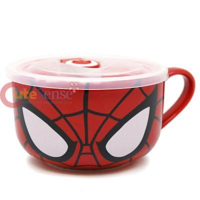 Unique Marvel Heroes Spiderman Ceramic Mug Soup Bowl with Lid FN52